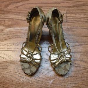 Coach Joslin Wedge Cork Heel Sandal Shoes**